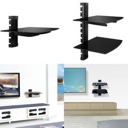 1,2 Floating Shelves Large Wall Mount Tempered Glass TV Acce
