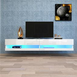 """180 Wall Mounted Floating 80"""" TV Stand with 20 Color LEDs in"""