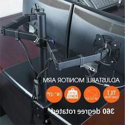 Dual Arms TV LCD Monitor Desk Mount Stand Bracket Swivel for