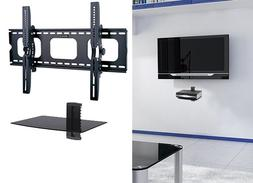 Flat Tilting TV Wall Mount With Single DVD Shelf for 55 60 6