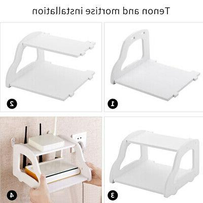 Easy Install Wall Mount TV Box Shelf Home Accessories Router
