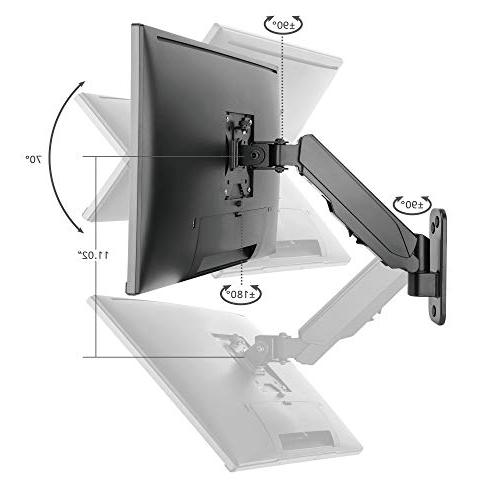 """SIIG Aluminum Gas Spring Full Ergonomic Arm Mount - Heavy Duty Holds 17"""" to 32"""" Screen, up Single 75/100m"""