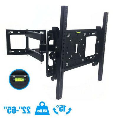 Articulating Full Motion TV Wall Mount 15° Tilt Swivel For