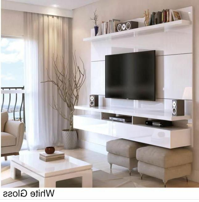 Floating Wall Unit Stand Screen Mount White