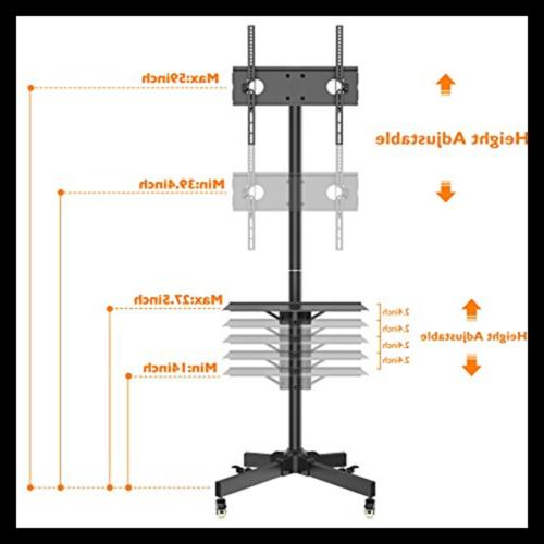 Mobile TV Stand Trolley Plasma/L Black