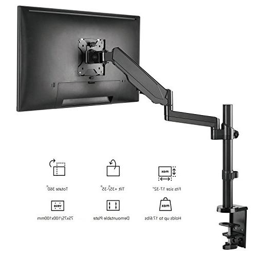 WALI Premium Single Monitor Fully Adjustable Spring for one Screen to ,