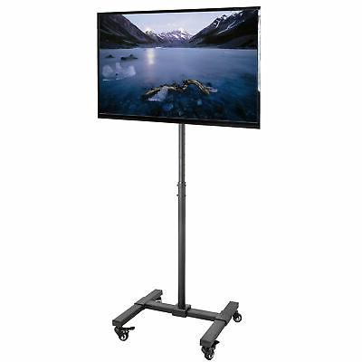 TV Mobile Floor Stand Height Adjustable Mount w/ Wheels for