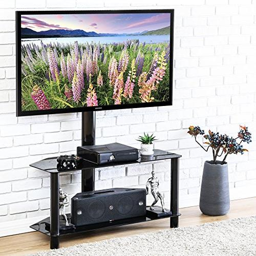 Fitueyes TV Stand with Swivel Mount Storage Shelf for 32-50""