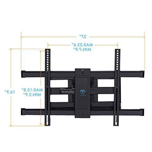 "TV Wall Mount Motion 16"", 24"" Studs, Swivel TV Mount Most 37-70 LCD, OLED, Plasma TVs 132lbs, VESA PERLESMITH"