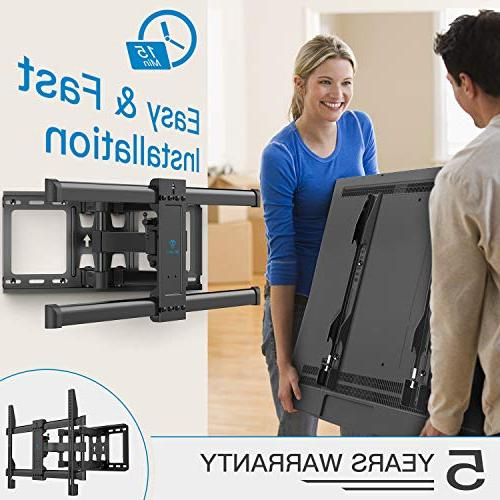 Full Mount Dual Articulating 6 Arms Bears to 132lbs for Most 37-70 inch TV Tilt, Rotation fit LED, OLED Screen 600x400mm