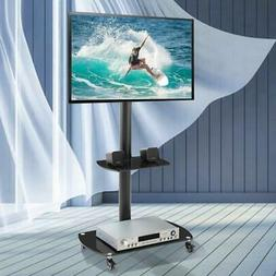 Mobile TV Stand Cart Mount Wheels Glass Shelf for 32 - 65 in