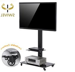 TAVR Tall Rolling Moblile Floor TV Stand Cart with Mount Loc