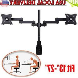 New Dual Arm Monitor Desk Mount Computer TV Screen Bracket S