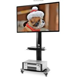 Rolling Floor Stand Mobile TV Cart with Universal Swivel Mou