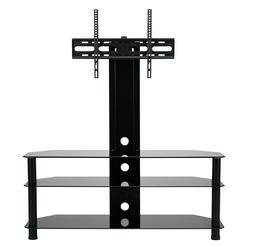 """TV Stand With Swivel Mount Black Glass 3 Tier For 55"""" 60"""" 65"""