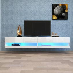 Wall Mount Floating 80 Inch TV Stand w/ 20 Color LEDs Entert